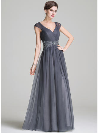 A-Line/Princess Tulle Sleeveless Sweetheart Floor-Length Zipper Up Mother of the Bride Dresses