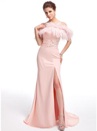 Trumpet/Mermaid Off-the-Shoulder Sweep Train Evening Dresses With Beading Split Front