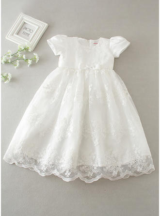 Scoop Neck A-Line/Princess Flower Girl Dresses Lace Short Sleeves Knee-length