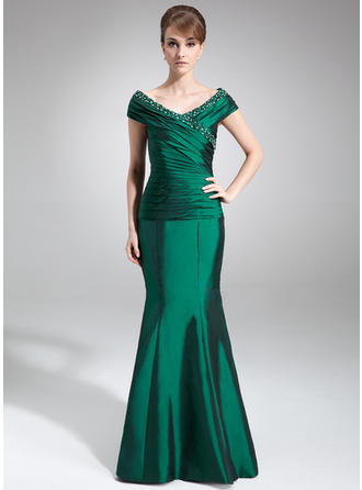 Trumpet/Mermaid Off-the-Shoulder Taffeta Sleeveless Floor-Length Ruffle Beading Mother of the Bride Dresses