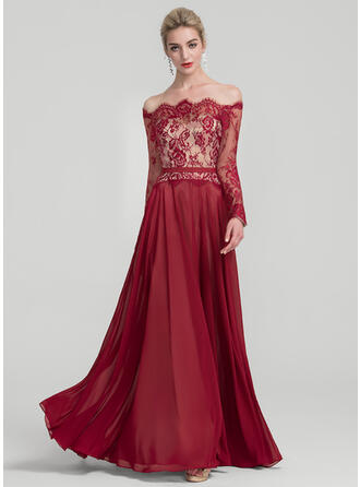 A-Line/Princess Off-the-Shoulder Floor-Length Chiffon Evening Dress