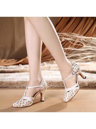 Women's Ballroom Heels Fabric With T-Strap Dance Shoes