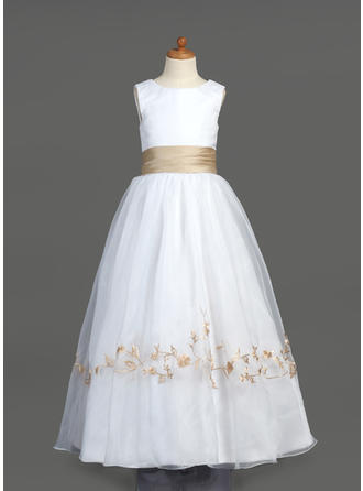 Sexy Floor-length A-Line/Princess Flower Girl Dresses Scoop Neck Organza/Satin Sleeveless (010212051)