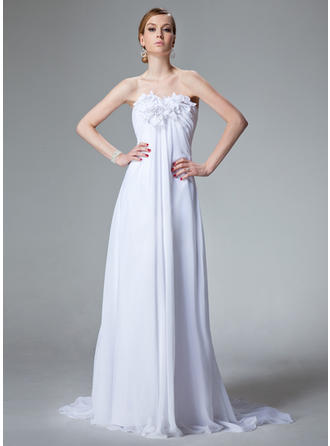Empire Court Train Wedding Dress With Ruffle Beading Flower(s)