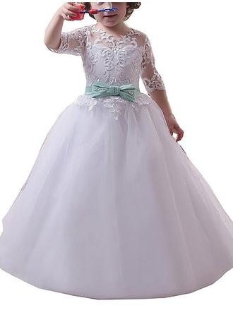 Ball Gown Scoop Neck Sweep Train With Appliques Tulle Flower Girl Dresses