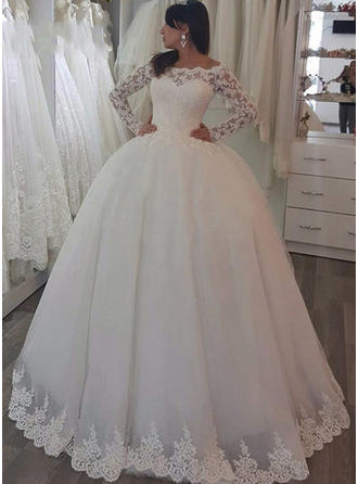 Newest Sweep Train Ball-Gown Wedding Dresses Off-The-Shoulder Tulle Long Sleeves