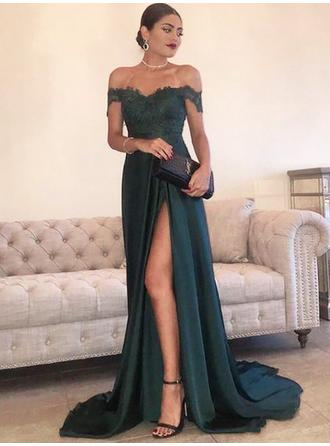 Charmeuse Sleeveless A-Line/Princess Prom Dresses Off-the-Shoulder Lace Sweep Train