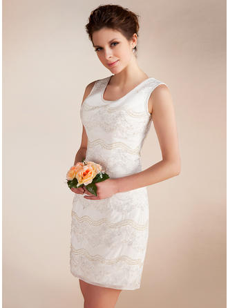 Elegant Short/Mini Sheath/Column Wedding Dresses Scoop Chiffon Sleeveless
