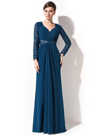 Modern Chiffon Lace Trumpet/Mermaid Zipper Up Evening Dresses
