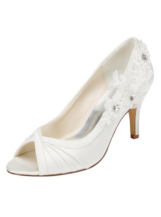 Women's Peep Toe Stiletto Heel Satin With Applique Crystal Wedding Shoes