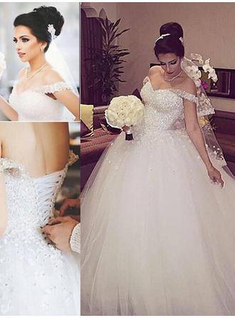 2019 New Floor-Length Ball-Gown Wedding Dresses Off-The-Shoulder Tulle Sleeveless (002144868)