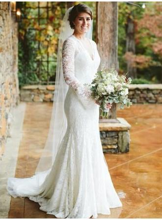 V-neck Trumpet/Mermaid Wedding Dresses Lace Long Sleeves Sweep Train