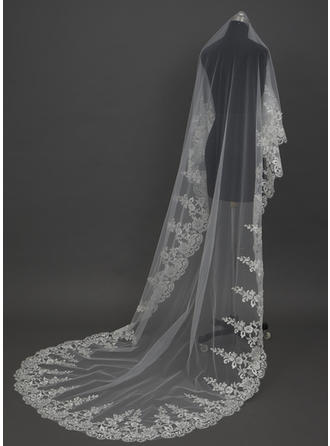 Cathedral Bridal Veils Tulle One-tier Classic/Drop Veil With Lace Applique Edge Wedding Veils