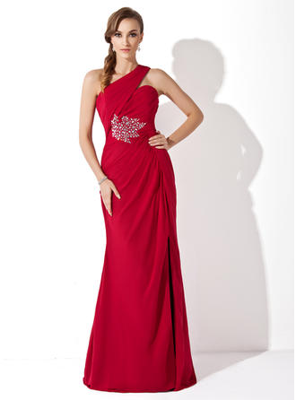Trumpet/Mermaid One-Shoulder Watteau Train Mother of the Bride Dresses With Ruffle Beading
