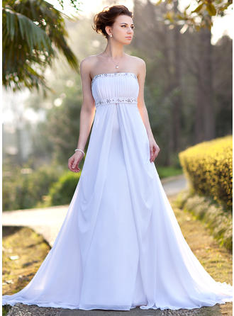 Empire Chiffon Strapless Court Train Wedding Dresses