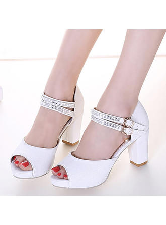 Women's Peep Toe Sandals Chunky Heel Leatherette With Buckle Rhinestone Wedding Shoes