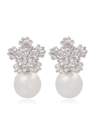 Earrings Pearl/Zircon/Platinum Plated Pierced Ladies' Snowflakes Shaped Wedding & Party Jewelry