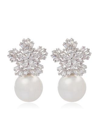 Flocons de neige en forme de Pearl/Zircon de/Platine plaqué Dames Boucles d'oreilles