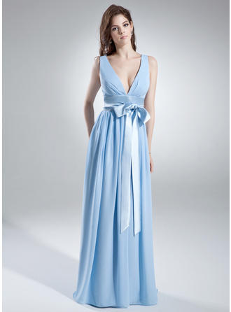 Chiffon Sleeveless A-Line/Princess Bridesmaid Dresses V-neck Ruffle Sash Bow(s) Floor-Length
