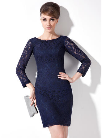 Sheath/Column Lace 3/4 Sleeves Scoop Neck Short/Mini Zipper Up Mother of the Bride Dresses