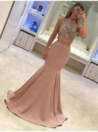 Satin Sleeveless Trumpet/Mermaid Prom Dresses High Neck Beading Sweep Train
