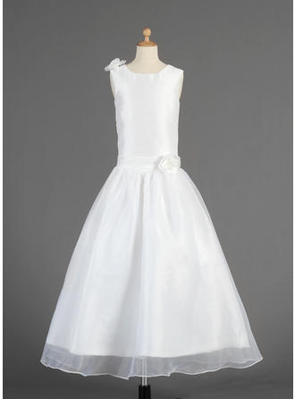 A-Line/Princess Scoop Neck Ankle-length With Flower(s) Taffeta/Organza Flower Girl Dress