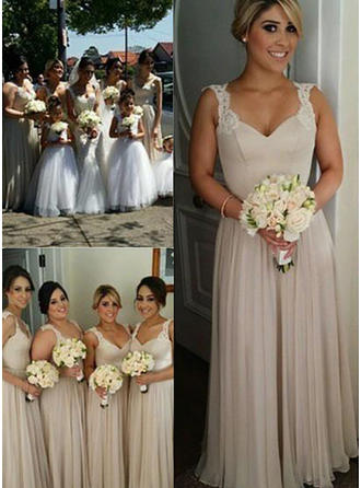 A-Line/Princess Chiffon Bridesmaid Dresses Appliques Sweetheart Sleeveless Floor-Length