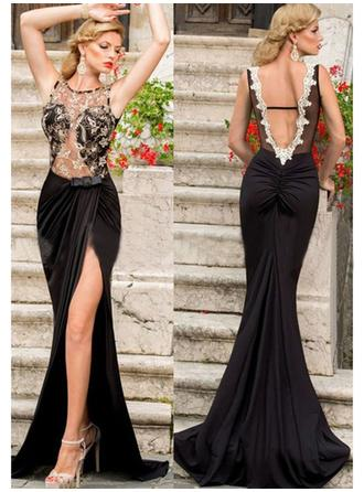 Jersey Sleeveless Trumpet/Mermaid Prom Dresses Scoop Neck Lace Sweep Train