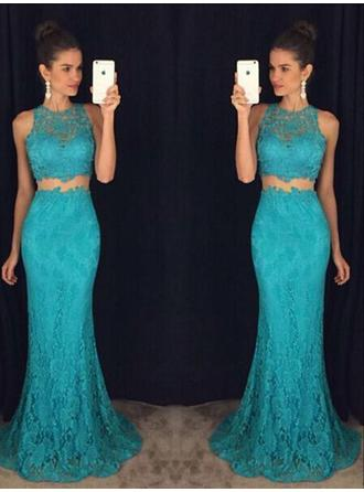Trumpet/Mermaid Scoop Neck Sweep Train Detachable Evening Dresses