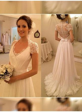 A-Line/Princess V-neck Sweep Train Wedding Dress With Ruffle Bow(s)