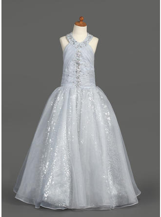 Floor-length Halter Organza/Sequined Flower Girl Dresses With Ruffles/Beading