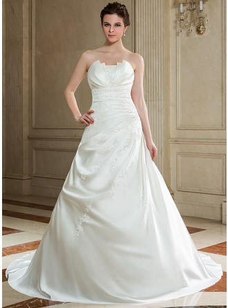 Elegant Chapel Train A-Line/Princess Wedding Dresses Scalloped-Edge Satin Sleeveless