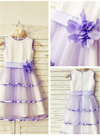 A-Line/Princess Scoop Neck Tea-length With Flower(s) Satin/Tulle Flower Girl Dresses