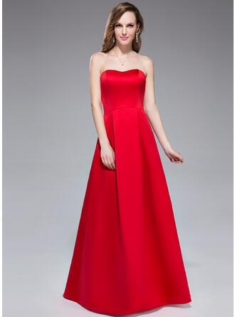 A-Line/Princess Sweetheart Floor-Length Satin Bridesmaid Dress