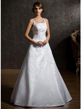 Flattering Floor-Length A-Line/Princess Wedding Dresses Square Satin Organza Sleeveless