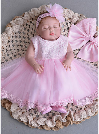 Tulle Scoop Neck Bow(s) Baby Girl's Christening Gowns With Sleeveless