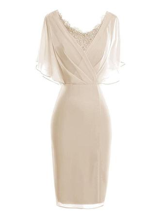 Sheath/Column V-neck Knee-Length Chiffon Mother of the Bride Dress With Lace Cascading Ruffles (008146399)