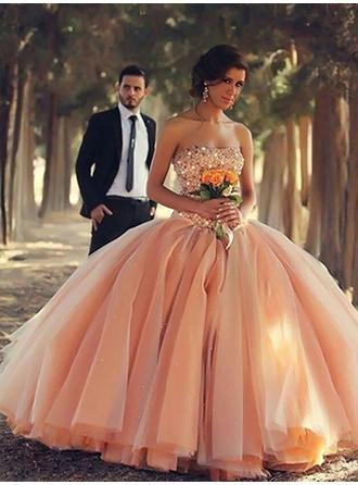 Ball-Gown Strapless Floor-Length Organza Evening Dresses With Beading