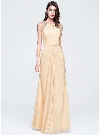 Sleeveless A-Line/Princess Prom Dresses Scoop Neck Ruffle Beading Sequins Floor-Length