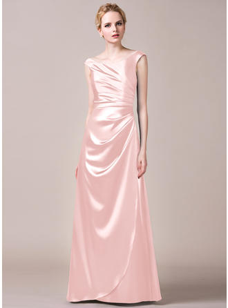 Floor-Length A-Line/Princess Sleeveless Charmeuse Bridesmaid Dresses