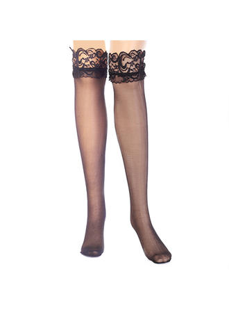 Hosiery Lady Casual Chinlon With Lace Garter