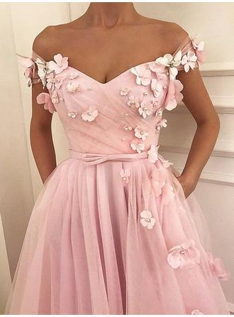 A-Line/Princess Tulle Prom Dresses Stunning Floor-Length Off-the-Shoulder Sleeveless (018218651)