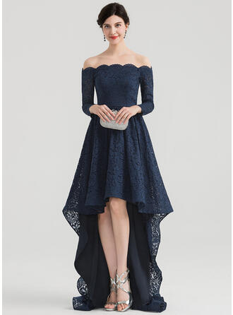 A-Line Off-the-Shoulder Asymmetrical Lace Evening Dress