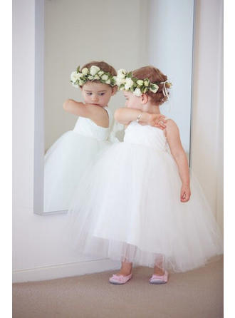 Ball Gown Sweetheart Ankle-length With Sash Tulle Flower Girl Dresses