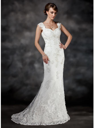 A-Line/Princess Sweetheart Sweep Train Wedding Dress With Beading Appliques Lace Sequins