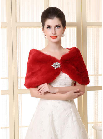 Wrap Wedding Faux Fur Sleeveless Ivory Red Wraps