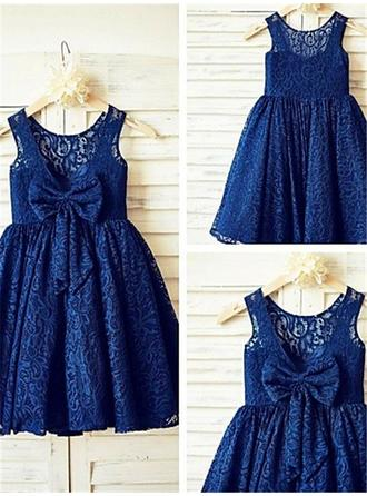 Scoop Neck A-Line/Princess Flower Girl Dresses Lace Bow(s) Sleeveless Tea-length