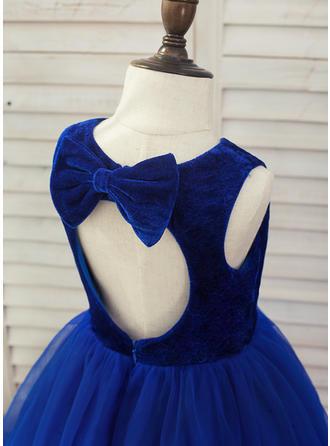 Scoop Neck A-Line/Princess Flower Girl Dresses Tulle Bow(s) Sleeveless Floor-length