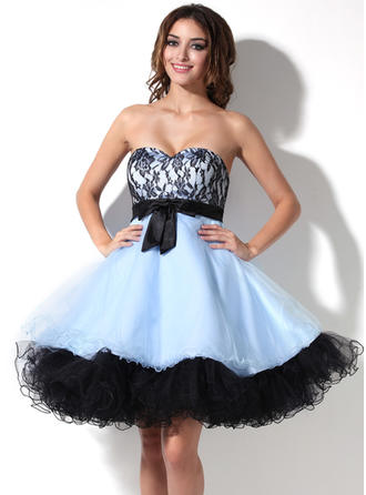 Empire Sweetheart Knee-Length Tulle Homecoming Dresses With Bow(s)