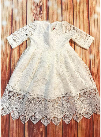 A-Line/Princess Scoop Neck Floor-length Lace Christening Gowns